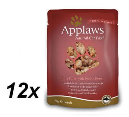 Applaws mokra hrana za mačke, tuna in kozice, 12 x 70g