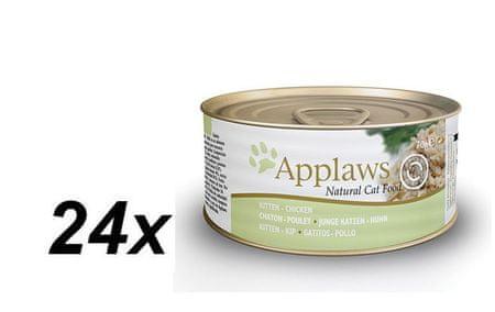 Applaws Kitten Macskaeledel, Csirkés, 24 x 70 g