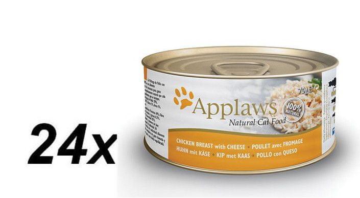 Applaws Konzerva Cat - kuřecí prsa a sýr 24 x 70g