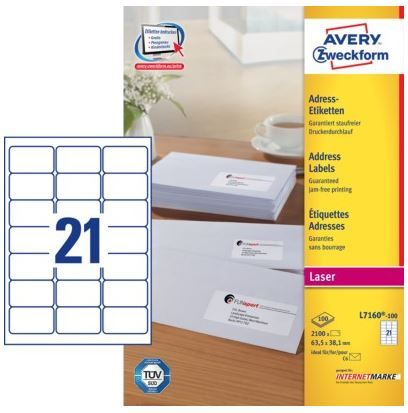 Avery Zweckform etikete L7160-100, 63.5 x 38.1 mm, bele