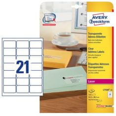 Avery Zweckform etikete L7560-25, 63,5 x 38,1 mm, prozorne, 25 listov