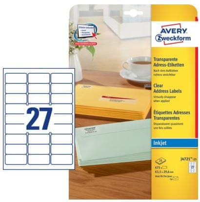 Avery Zweckform etikete J4721-25, 63,5 x 29,6 mm, prozorne, 25 listov