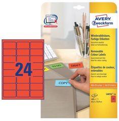 Avery Zweckform etikete L6034-20, 63.5 x 33.9 mm, 480 kom, Stick&Lift, rdeče