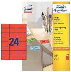 Avery Zweckform Etikete 3448 70X37, rdeče, zavitek 100 listovEtikete Avery Zweckform 3448 70X37