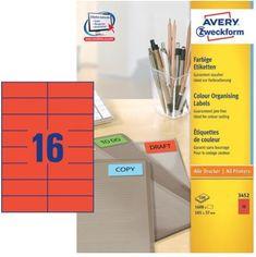 Avery Zweckform Etikete 3452 105X37, rdeče, zavitek 100 listov