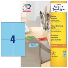 Avery Zweckform Etikete 3457 105X148, modre, zavitek 100 listov