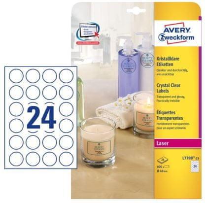 Avery Zweckform etikete L7780-25 40 mm, prozorne, zavitek 25 listov