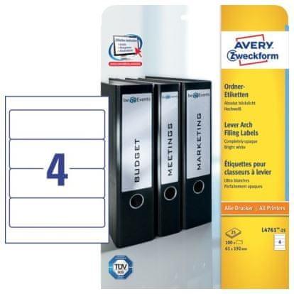 Avery Zweckform Etikete L4761-25 192X61, zavitek 25 listov