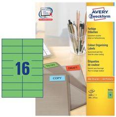 Avery Zweckform Etikete 3454 105X37, zelene, zavitek 100 listov
