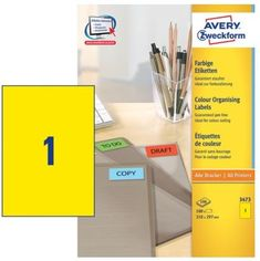 Avery Zweckform Etikete 3473 210X297, rumene, zavitek 100 listov