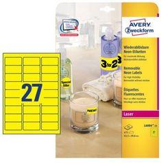 Avery Zweckform Etikete L6004-25, 63,5 x 29,6 mm, 675 kom, Stick&Lift, neon žute