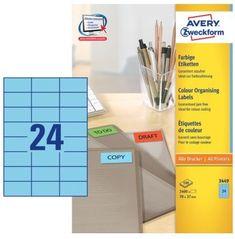 Avery Zweckform Etikete 3449 70X37, modre, zavitek 100 listov