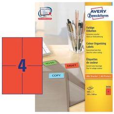Avery Zweckform Etikete 3456 105X148, rdeče, zavitek 100 listov