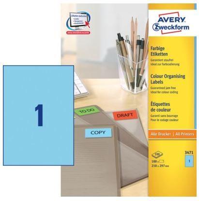 Avery Zweckform Etikete 3471 210X297, modre, zavitek 100 listov
