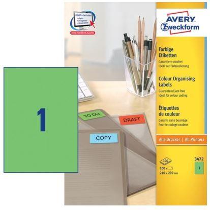 Avery Zweckform Etikete 3472 210X297, zelene, zavitek 100 listov