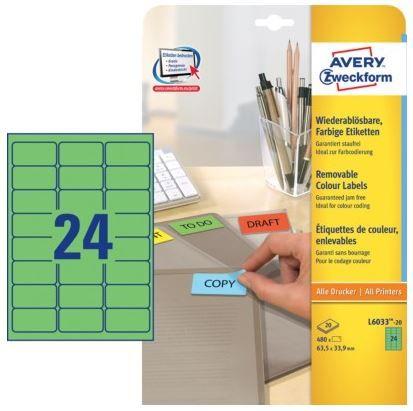 Avery Zweckform Etikete L6033-20, 63.5 x 33.9 mm, 480 kom, Stick&Lift, zelene