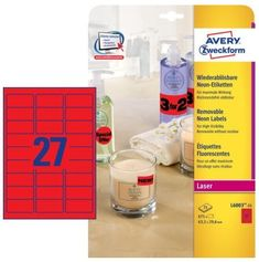 Avery Zweckform etikete L6003-25, 63,5 x 29,6 mm, 675 kom, Stick&Lift, neon rdeče
