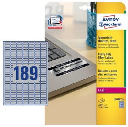 Avery Zweckform Etikete L6008-20, 25.4 x 10 mm, 3780 kom, metaliziran poliester
