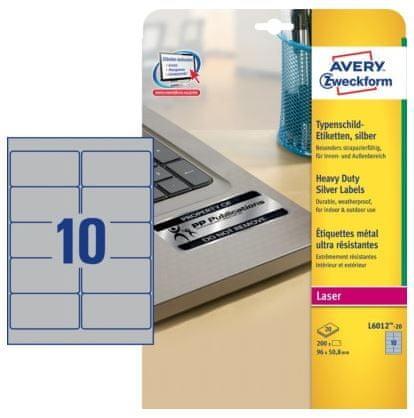 Avery Zweckform Etikete L6012-20 96X50.8, srebrne