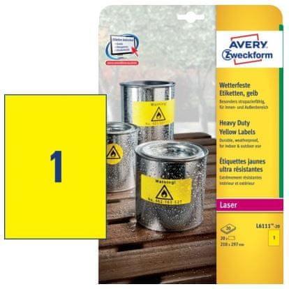 Avery Zweckform etikete L6111-20 210 x 297 mm, pakiranje 20 listova