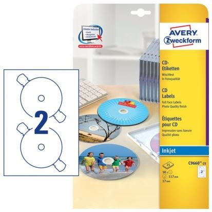 Avery Zweckform Etikete za označevanje CD/DVD medijev Zweckform C9660-25, bele