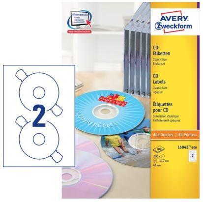 Avery Zweckform Etikete za označavanje CD-a ,L6043-100, bijele, 100 listova