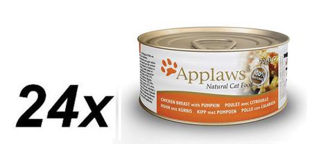 Applaws mokra hrana za mačke, piščančje prsi in buča, 24 x 70 g