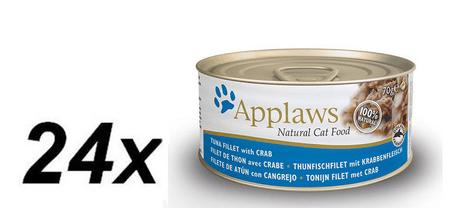 Applaws konzerva za mačke s tuno in rakovico, 24x70 g