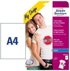 Avery Zweckform Folija MD1006 za preslikavo na svetle majice, bela, 24 listov