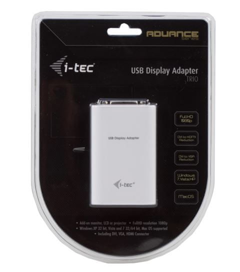I-TEC adapter USB 2.0 - DVI-I/ D-Sub/HDMI