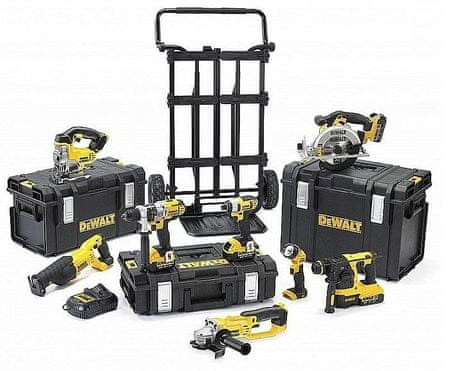 DeWalt set akumulatorskega orodja s kovčki in vozičkom DCK891M4, 8-delni