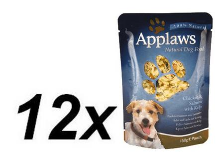 Applaws mokra hrana za pse, piščanec, losos in alge, 12 x 150g