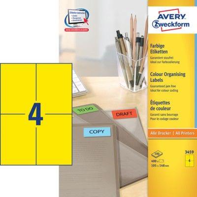 Avery Zweckform Etikete 3459 105X148, rumene, zavitek 100 listov