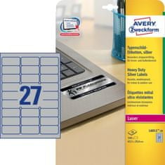 Avery Zweckform Etikete L6011-20, 63,5 x 29,6 mm, 540 kom, metaliziran poliester