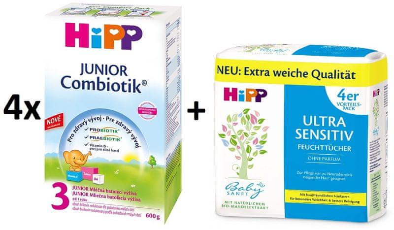 HiPP 3 Junior Combiotic - 4x600g + Vlhčené ubrousky Ultra Sensitive 4x52ks