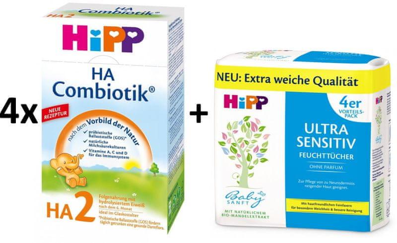 HiPP HA 2 Combiotic - 4x500g + Vlhčené ubrousky Ultra Sensitive 4x52ks