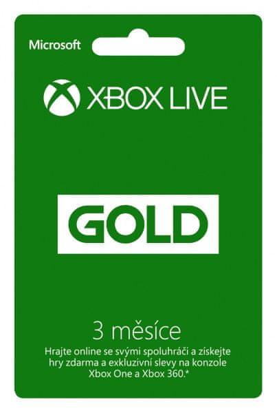 Microsoft Xbox Live 3 měsíce Gold Card