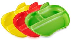 MUNCHKIN Set farebných delených tanierov v tvare jablka 3ks