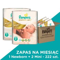 Pampers Pieluchy Premium Care 1 Newborn + 2 Mini - 222 szt. (zapas na miesiąc)