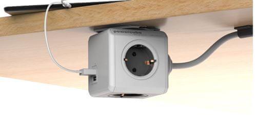 PowerCube razdelilec s podaljškom in USB vtičnico, siv