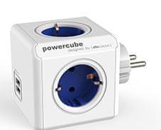 Allocacoc PowerCube razdelilec z USB vtičnico, moder