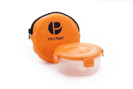 Prêt à Paquet posoda za prigrizek, z etuijem oranžna