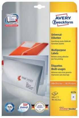 Avery Zweckform etikete 6174, 70 x 42.3 mm, bele