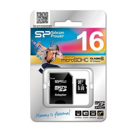 Silicon Power SDHC 16GB SDHC (Class 10) z adapterjem