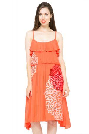 Desigual dámské šaty na ramínka 38 oranžová