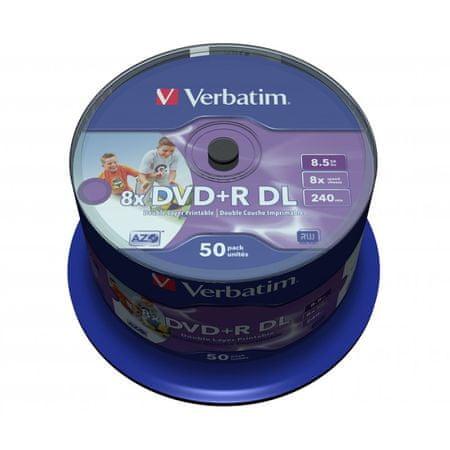 Verbatim DVD+R Dual Layer mediji 8,5 GB, 8x InkJet Spindle, 50 kosov na osi