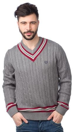 9f6e1d8a5535 Chaps pánský svetr s kontrastními detaily S šedá