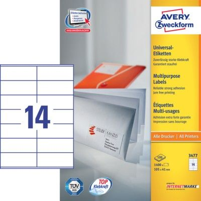 Avery Zweckform etikete 3477, 105 x 41 mm