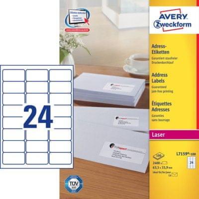 Avery Zweckform etikete L7159-100, 63,5 x 33,9 mm