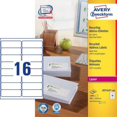 Avery Zweckform etikete LR7162-100, 99,1 x 33,9 mm, reciklirane